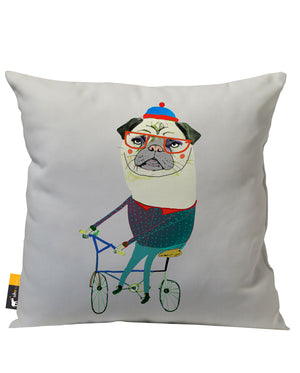 Beige Pug Art Patio Pillow