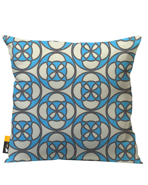 Blue and white retro patio pillow