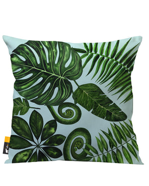 Bohemian Palm Leaves in blue Outdoor Throw Pillow