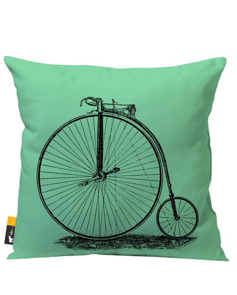 Light Green Vintage Unicycle Patio Pillow