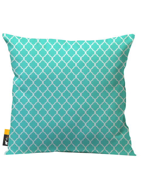 Teal Moroccan outdoor throw pillow