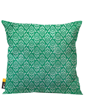 Green Vintage Damask Outdoor Throw Pillow