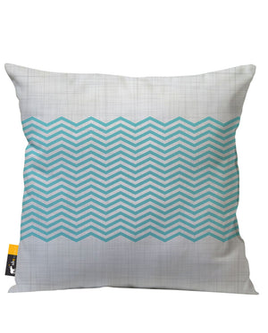 Grey and Blue Modern Design Outdoor Throw Pillow