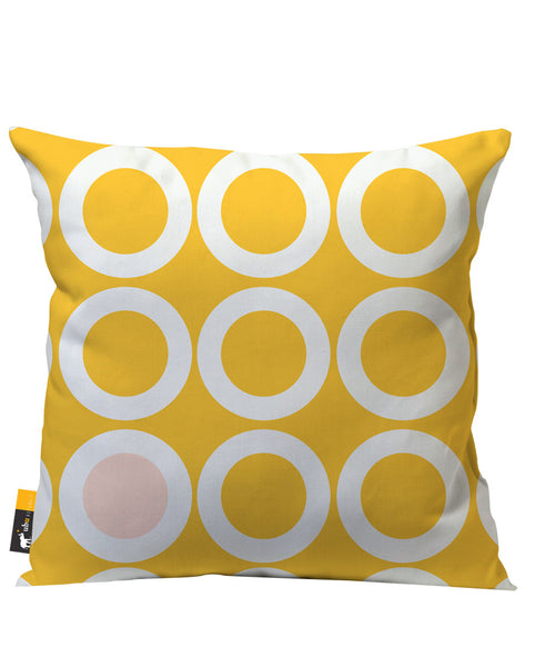 Yellow retro circle design patio pillow