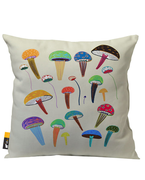 Tan Colorful Mushroom Art Outdoor throw Pillow