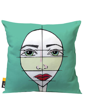 Aqua Green Artsy Patio Pillow