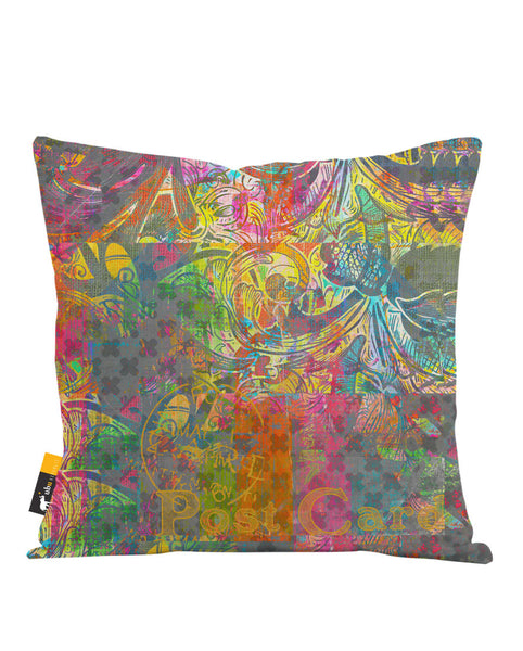 Screenprint Postcard Throw Pillow