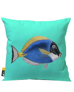 Teal Tropical Fish Patio Pillow