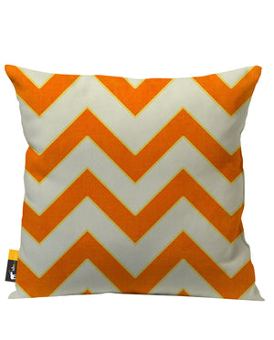 Orange and tan retro zig zag patio pillow