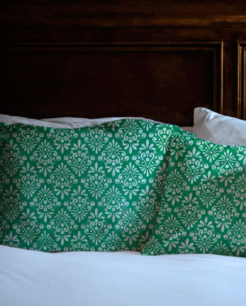 Green Vintage Damask Shams