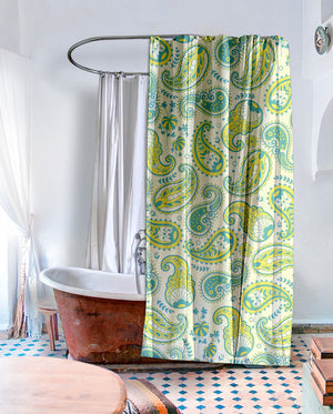 Lime Paisley Shower Curtain