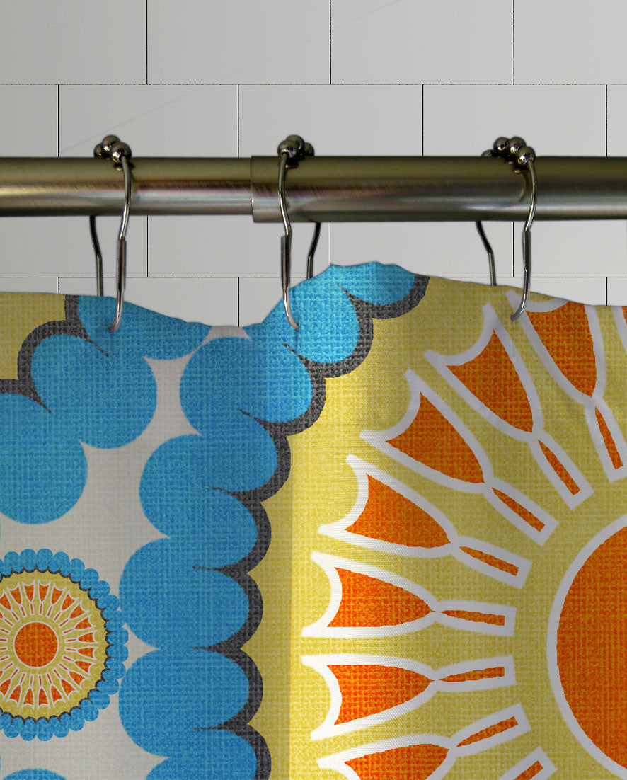 Retro Nectarine Shower Curtain