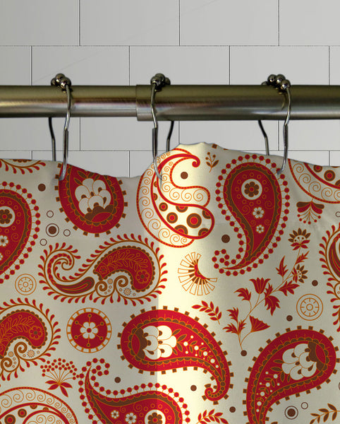 Chili Paisley Shower Curtain