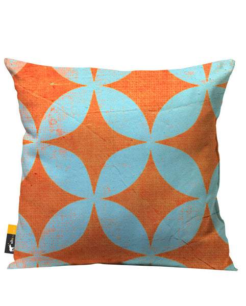 Bright orange and light blue retro outdoor throw pillow
