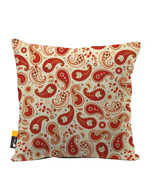 Chili Paisley Faux Suede Throw Pillow