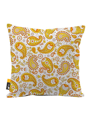 Pumpkin Paisley Faux Suede Throw Pillow