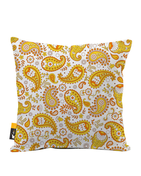 Pumpkin Paisley Luxe Suede Throw Pillow