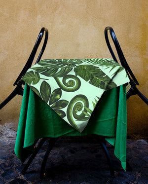 Boho Palm Leaves in Green Tablecloth