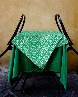 Green Vintage Damask Tablecloth