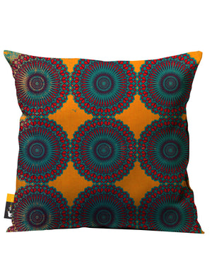 Orange boho outdoor throw pillow