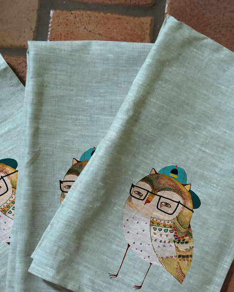 Hipster Owl Tea Towels