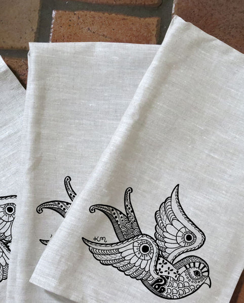 Inked Baby Swallow Tea Towels