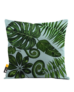 Boho Palm Leaves in blue Throw Pillow