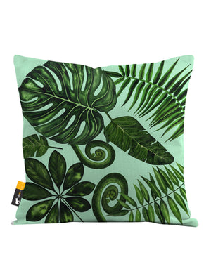 Boho Palm Leaves in green Throw Pillow