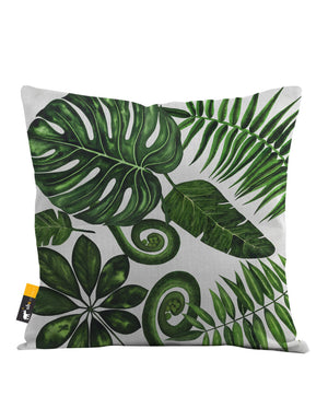 Boho Palm Leaves in white Throw Pillow