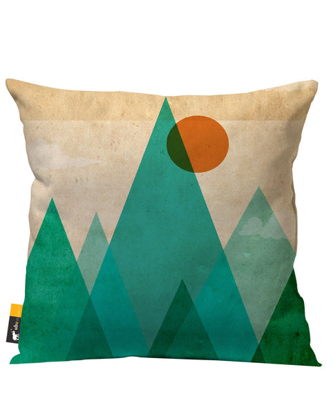 Tan Green Artsy Outdoor Throw Pillow