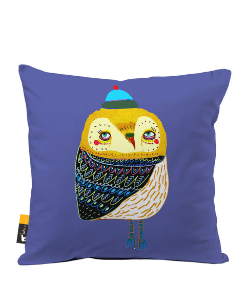 Winter's Eve Owl Luxe Suede Throw Pillow