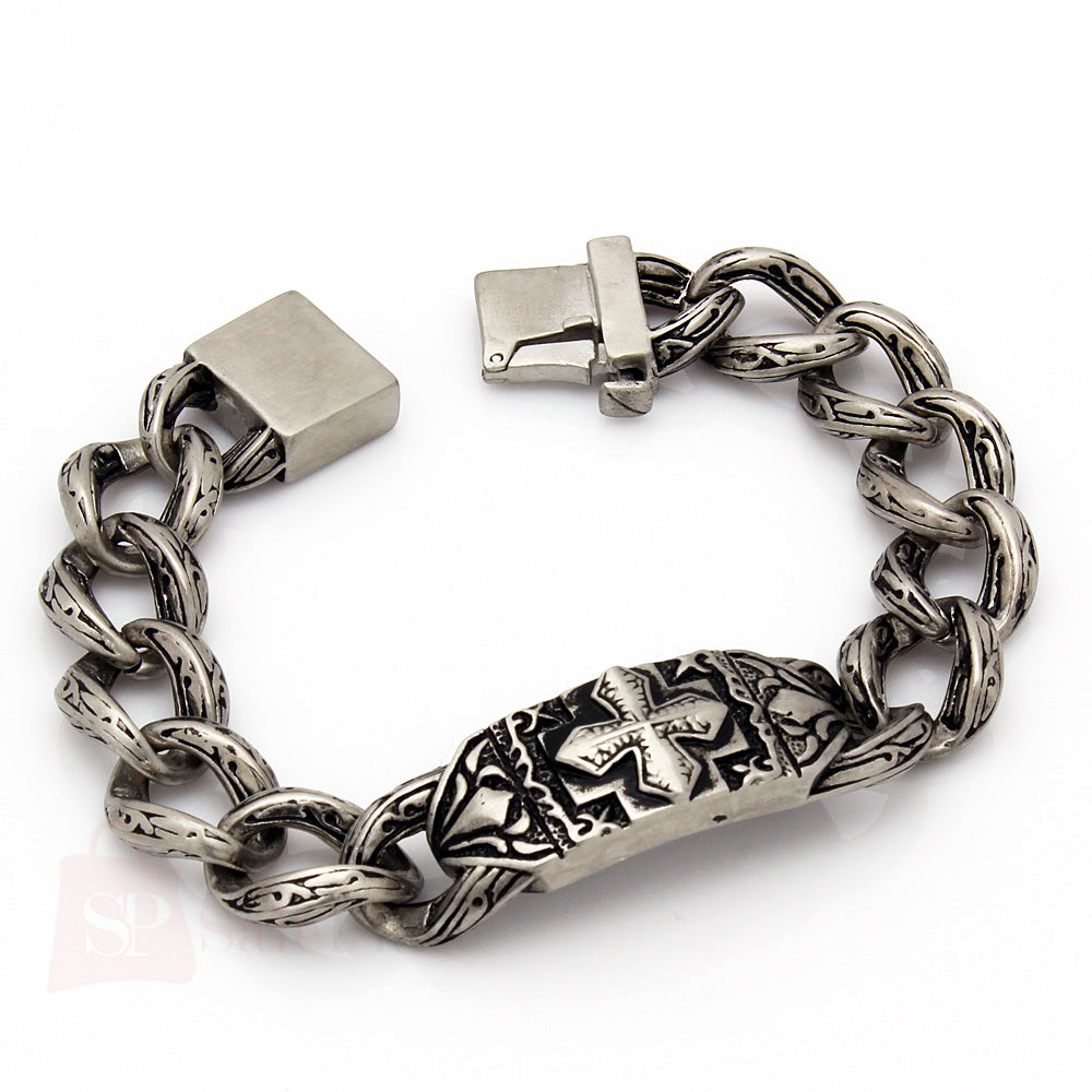 Mens 9 vintage silver 316l stainless steel chain link for Biker jewelry stainless steel