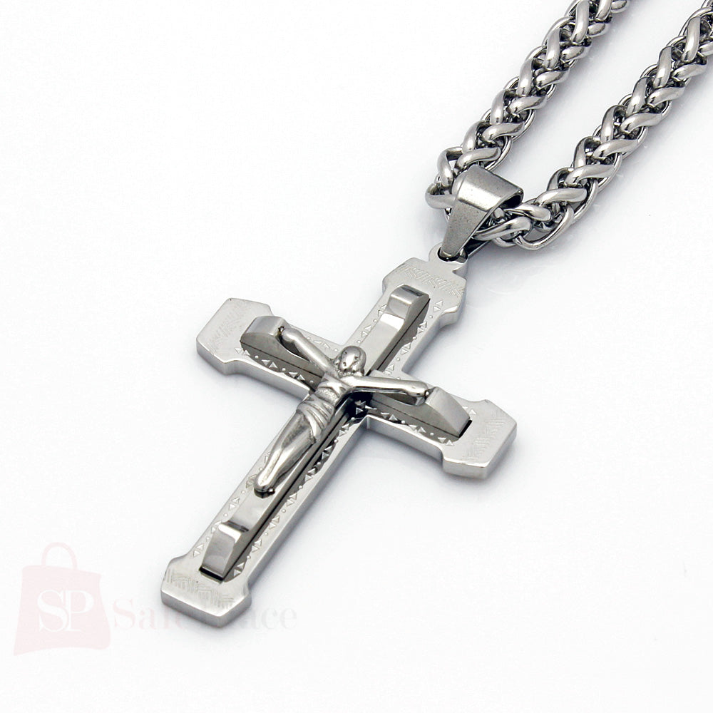 mens 24 quot stainless steel silver wheat chain necklace