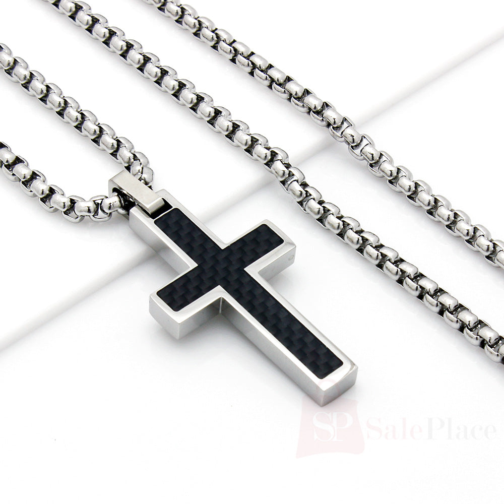 mens 22 stainless steel silver box chain necklace carbon. Black Bedroom Furniture Sets. Home Design Ideas