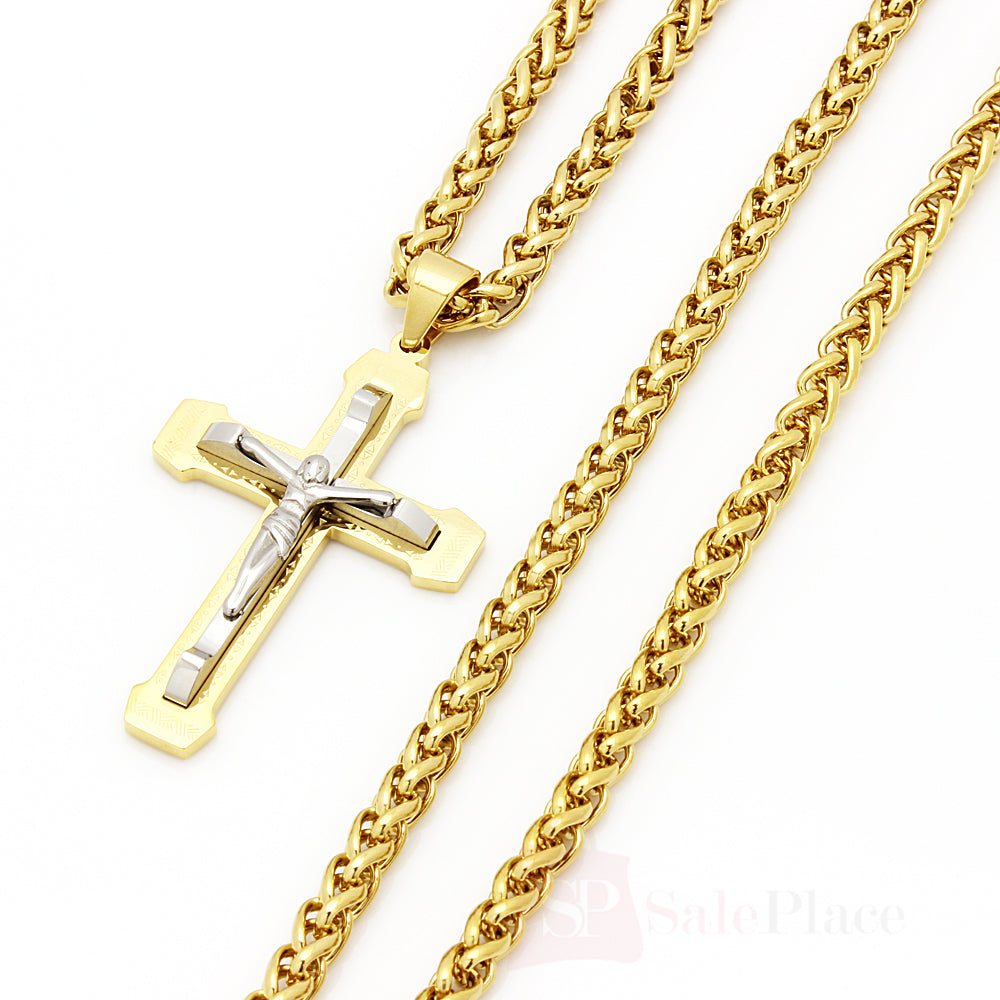 Gold stainless steel braided wheat chain necklace jesus cross pendant