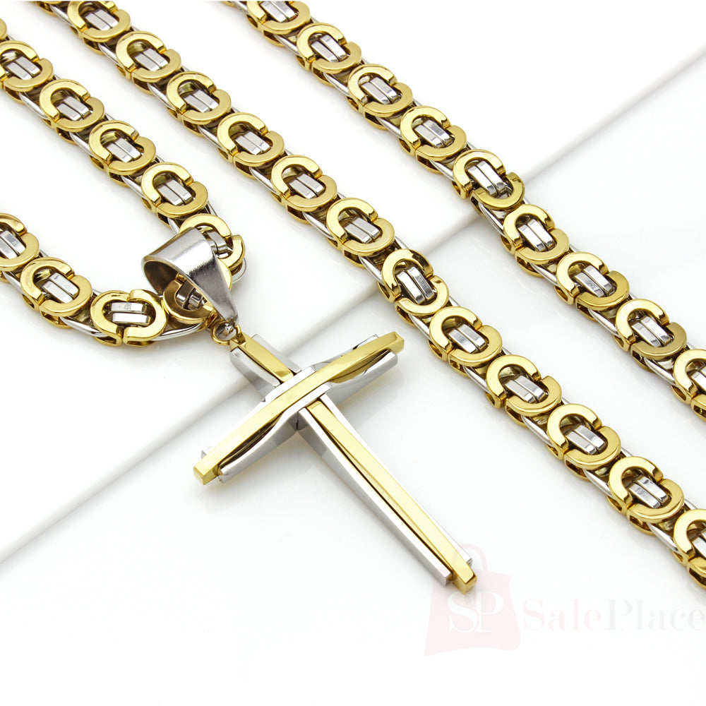 Stainless steel 8mm gold silver byzantine chain necklace cross pendant