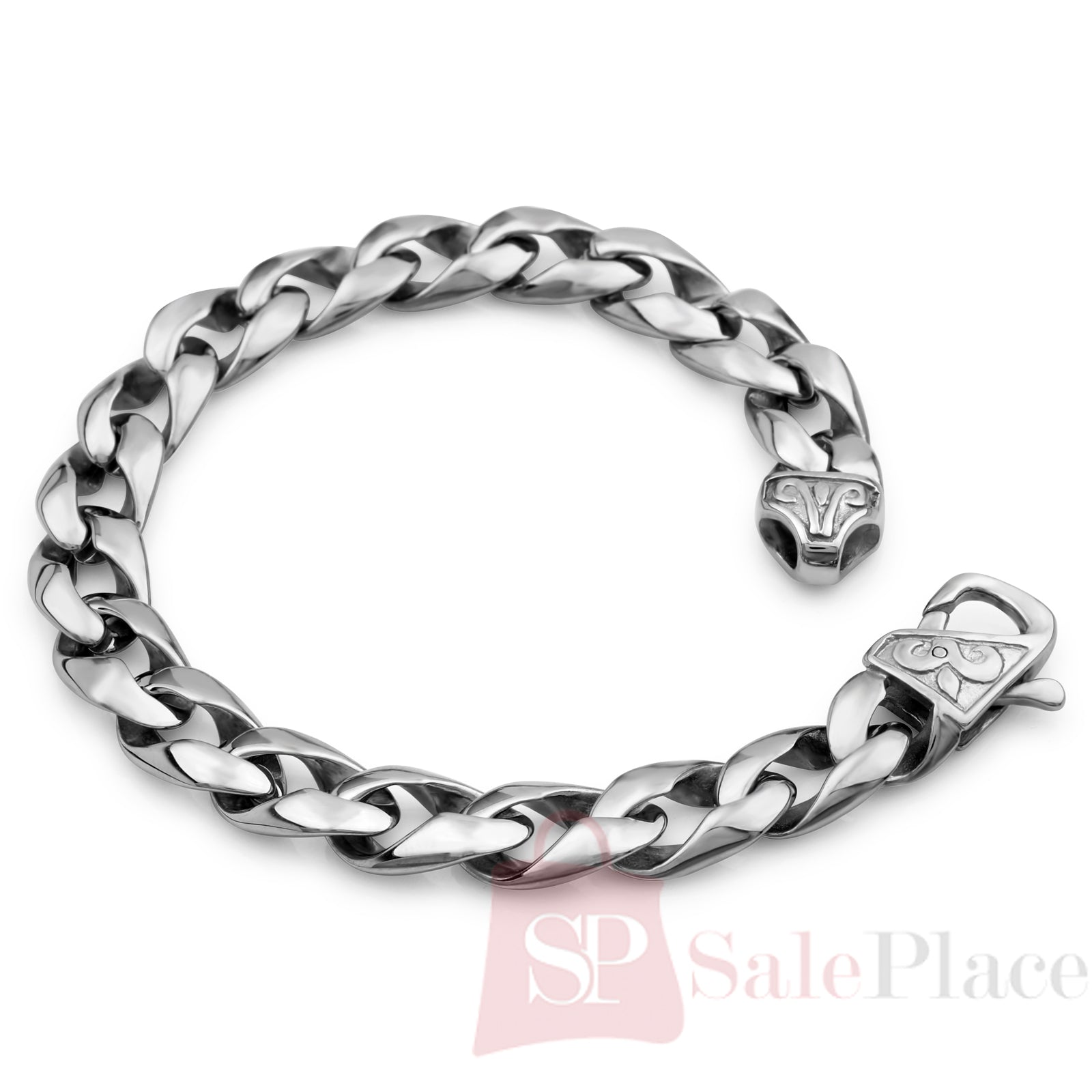 """Silver Chain Link Bracelet: Mens 8.5"""" 316L Stainless Steel Silver Cuban Chain Link"""