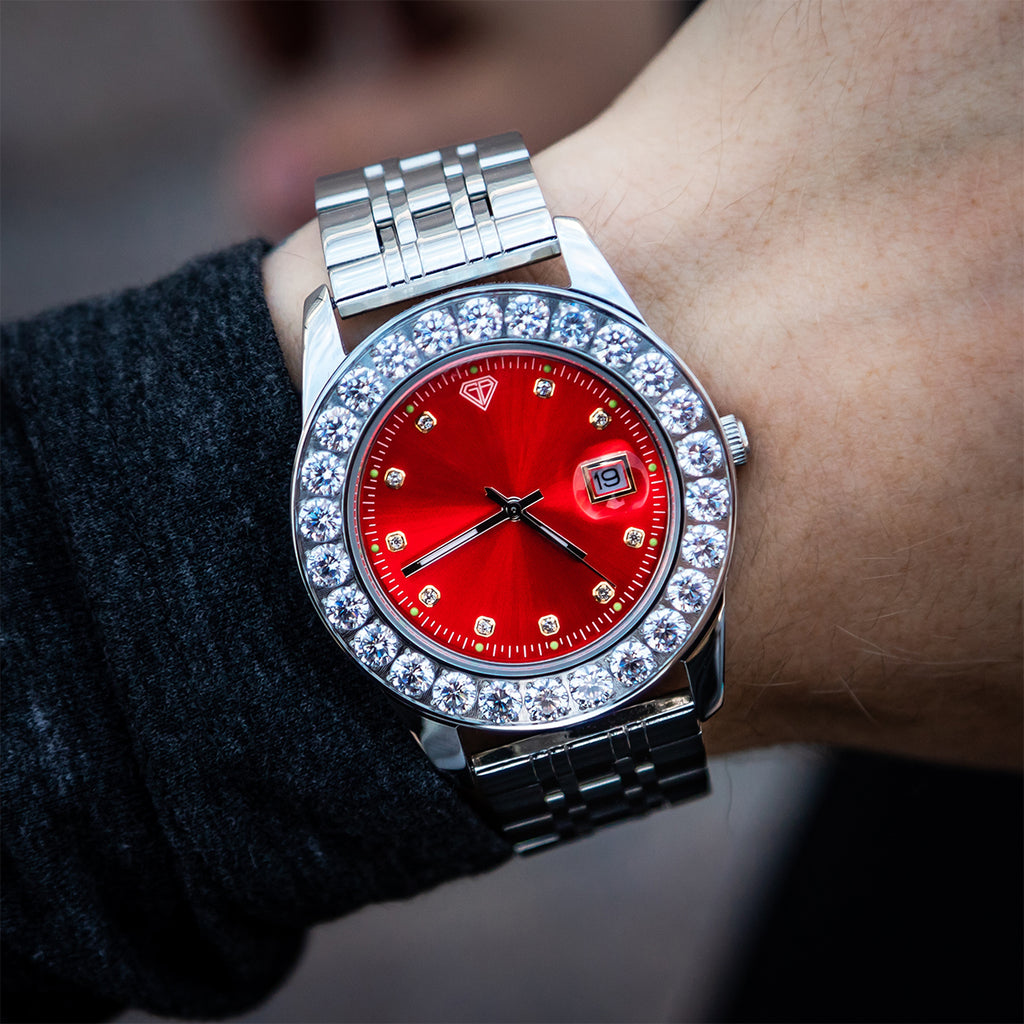 White Gold Boss Red Dial CZ Bezzle Watch