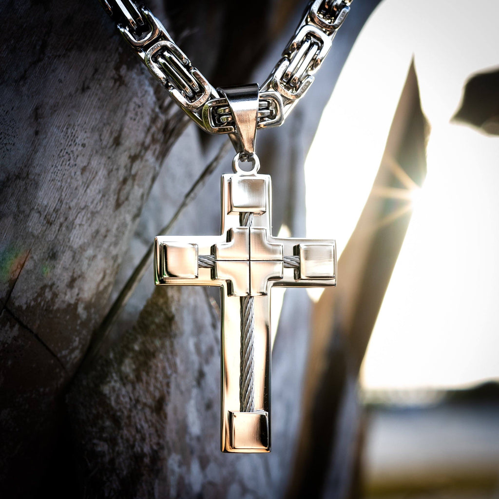 Necklace - Stainless Steel Silver Cable Cross Pendant