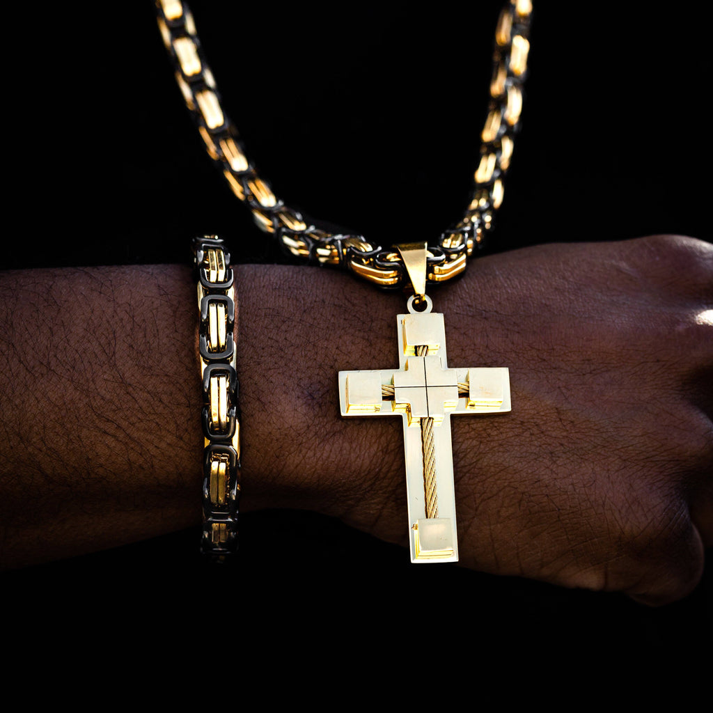 Necklace - Gold Cable Cross Pendant
