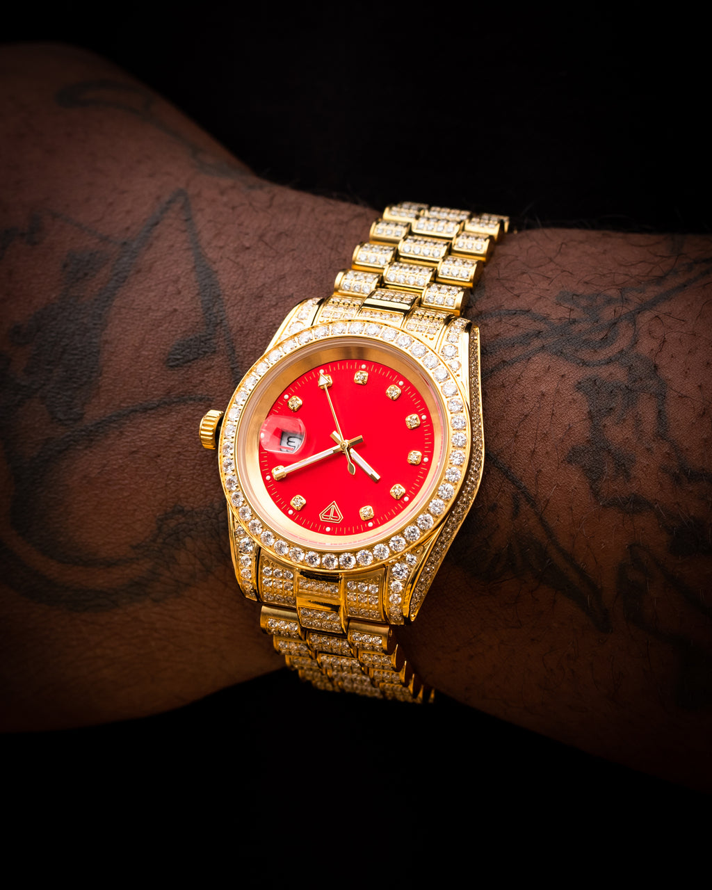 Gold Boss Red Dial CZ Watch