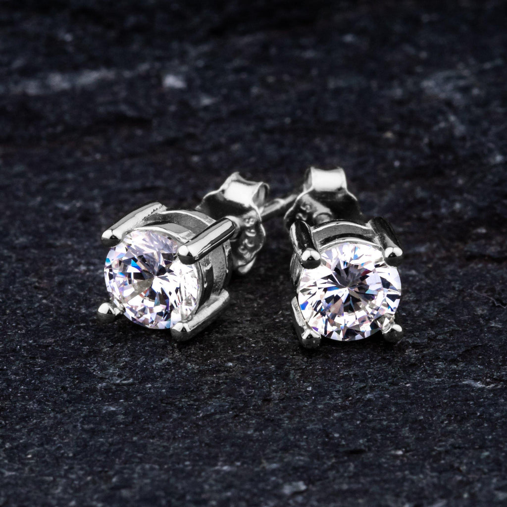 Earrings - Round Cut Stud Earring In White Gold