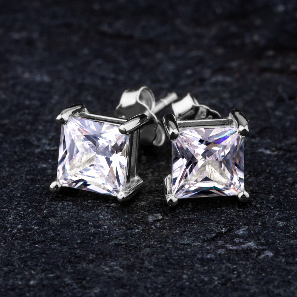 Earrings - Square Cut Stud Earring In White Gold