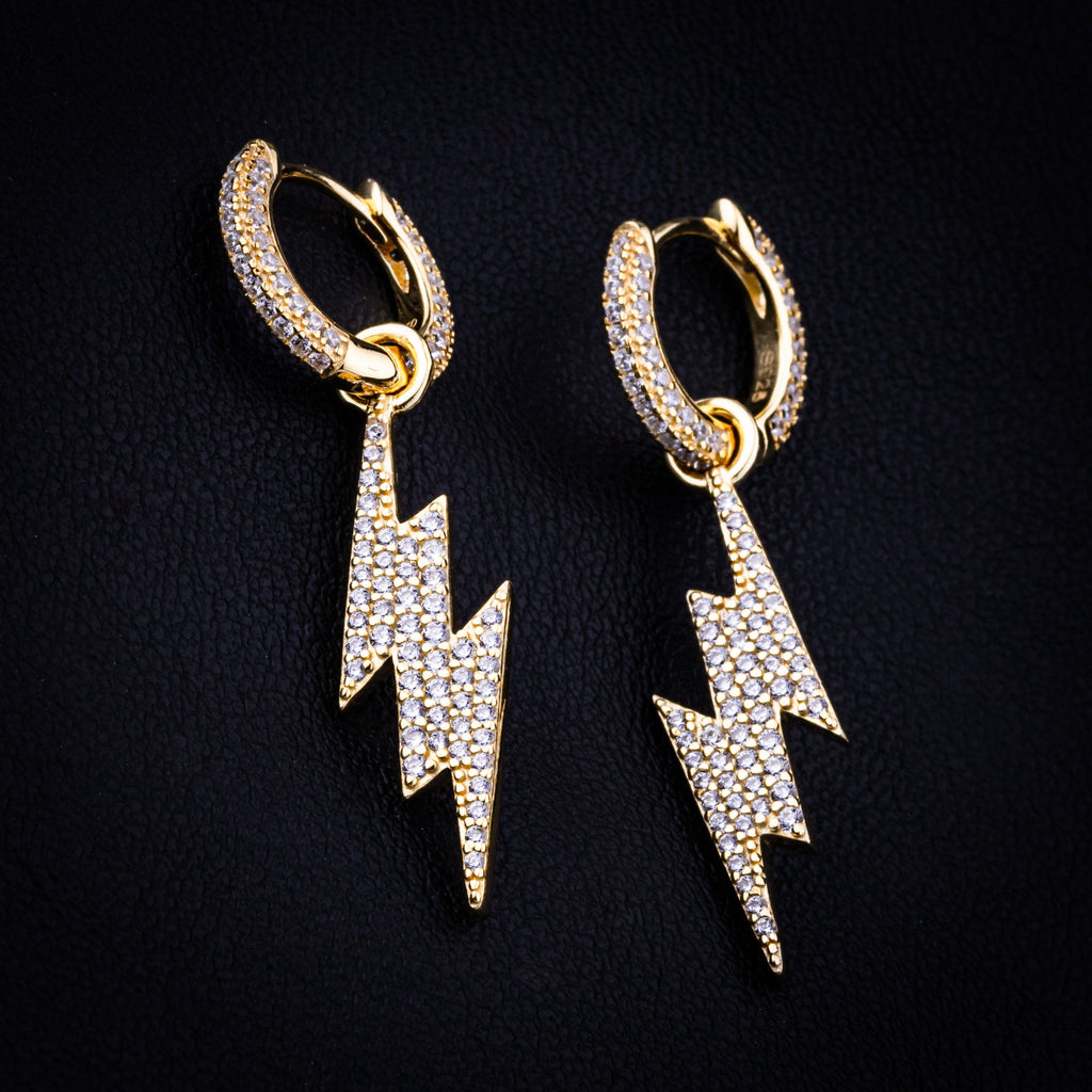 Earrings - Lightning Bolt Earring In Yellow Gold