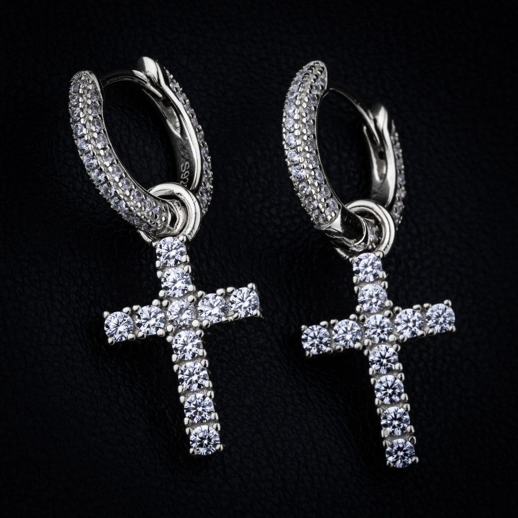 Earrings - Cross Earring In White Gold