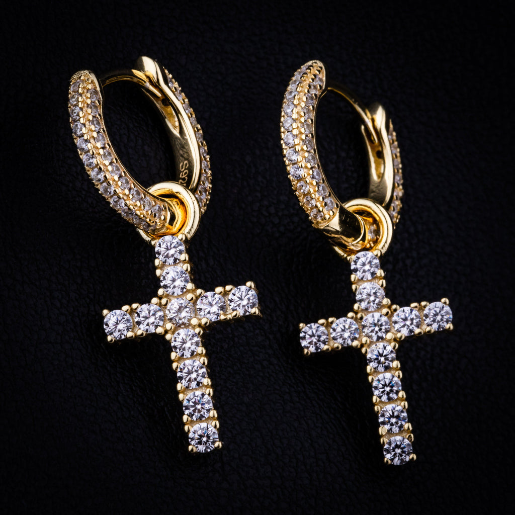 Earrings - Cross Earring In Yellow Gold
