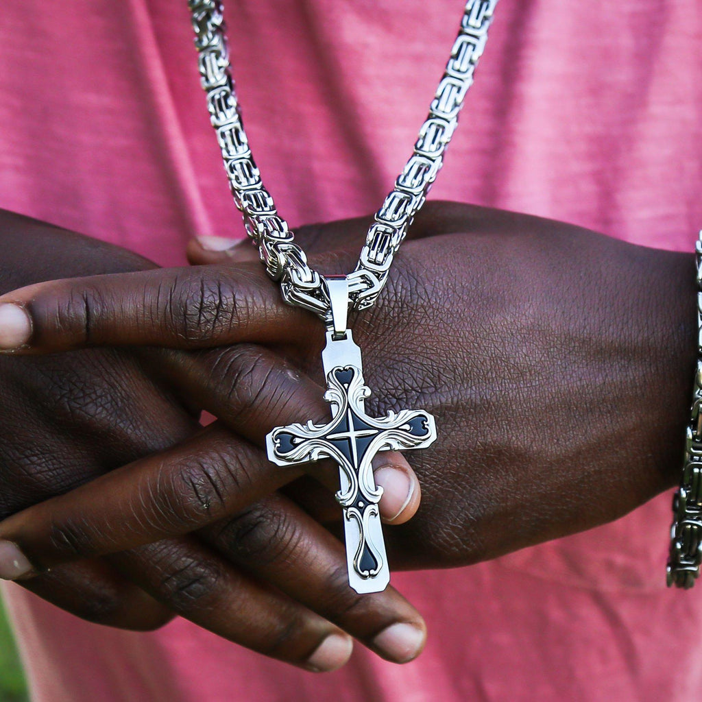 Necklace - Silver Stainless Steel Tribal Cross Pendant