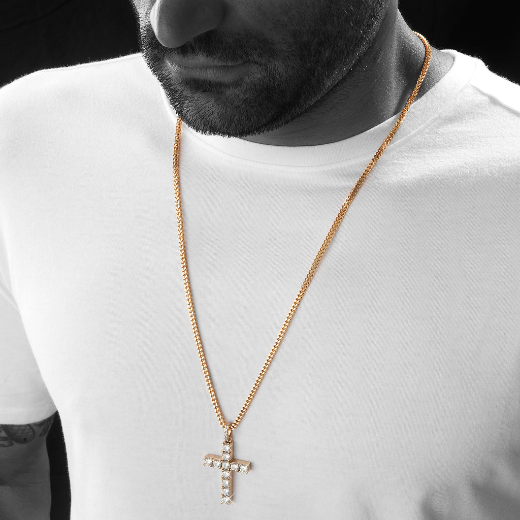 Gold CZ Diamond Cross Pendant