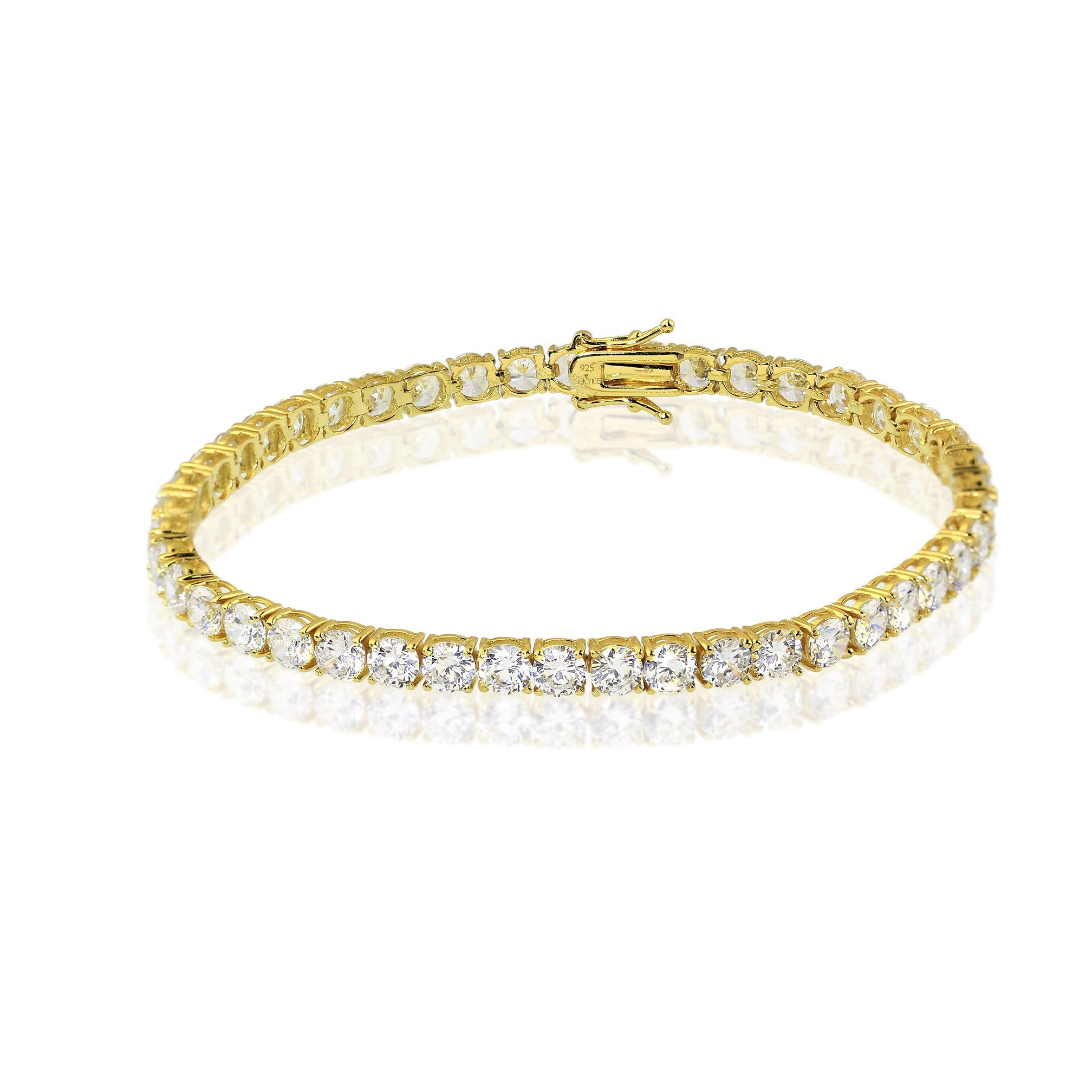 plated cubic gold zirconia clear white bracelet product with crystals tennis