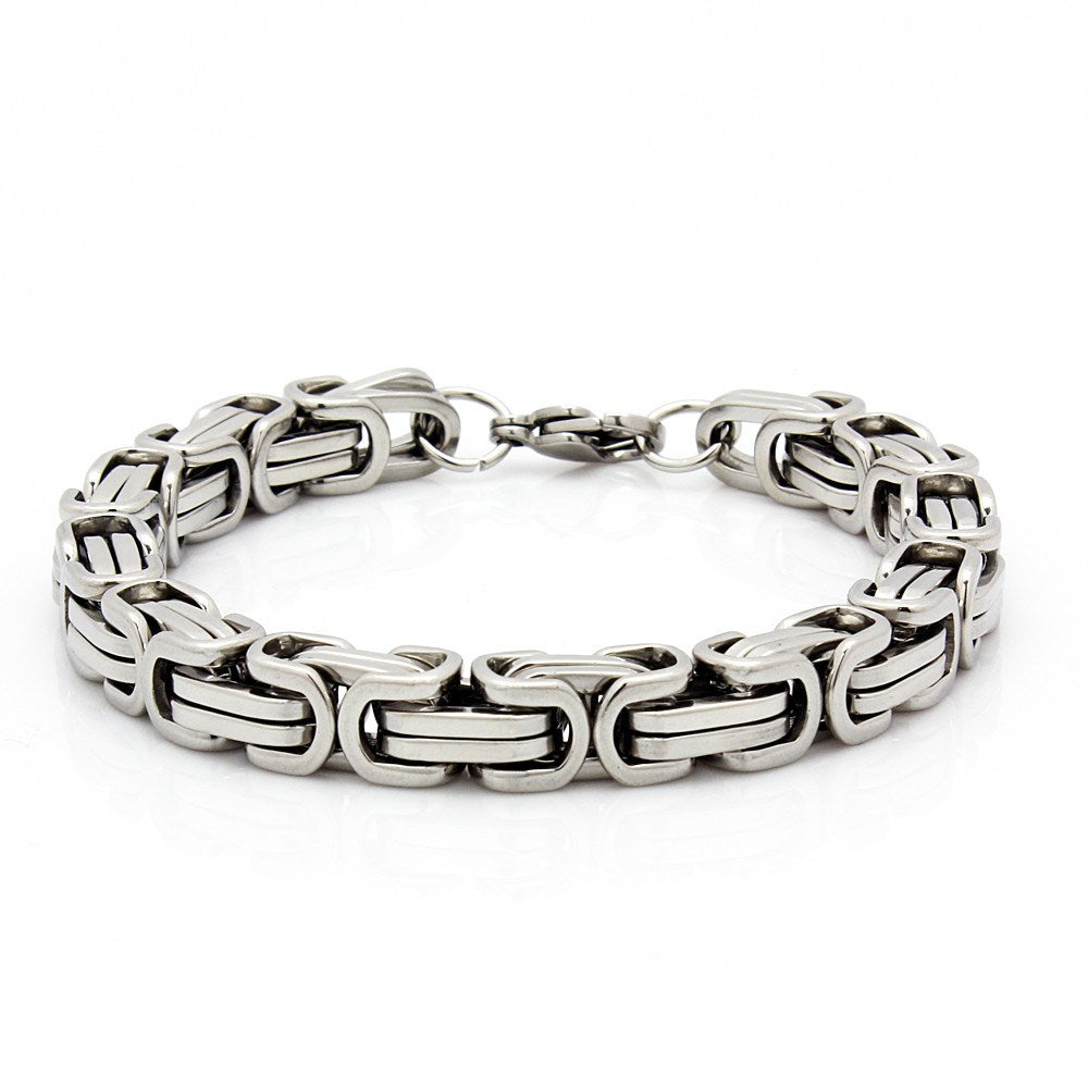 mens 8 5 stainless steel silver box byzantine chain link. Black Bedroom Furniture Sets. Home Design Ideas